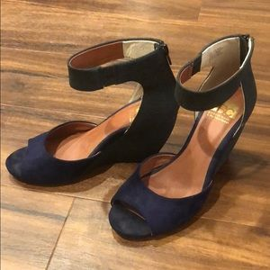 Black and blue wedges